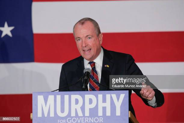 Democratic candidate Phil Murphy who is running for the governor of New Jersey speaks to attendees during a rally on October 24 2017 in Paramus New...