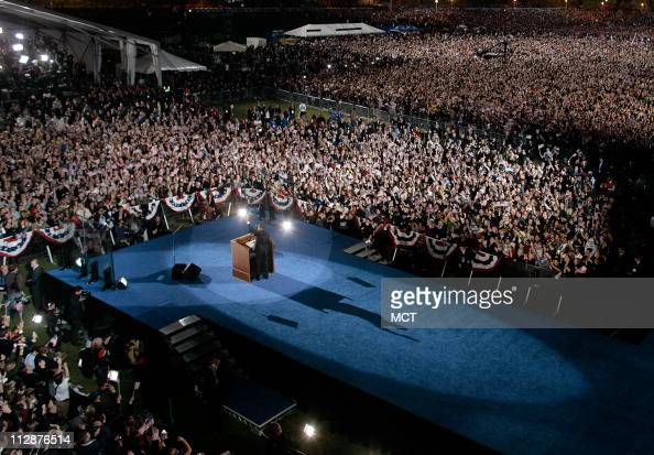 Democratic candidate Sen Barack Obama speaks to his supporters after it is announced he has won the presidential election at his Election Night Rally...