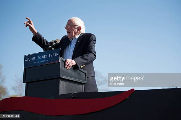 Democratic candidate Sen Bernie Sanders holds a rally in Prospect Park in Brooklyn New York on April 17 2016 just two days before the state's primary...