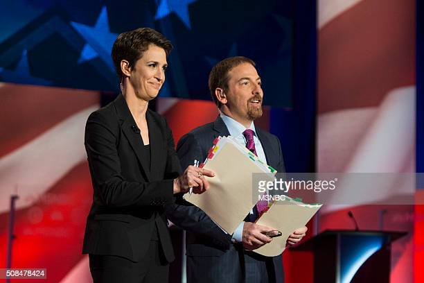 Rachel Maddow and Chuck Todd appear during the 'MSNBC Democratic Candidates Debate' on Thursday February 4 2016 at the University of New Hampshire at...