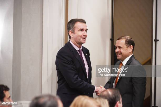 Democratic candidates for Governor of Virginia Lieutenant Governor Ralph Northam center and Tom Perriello right take part in a candidate forum put on...