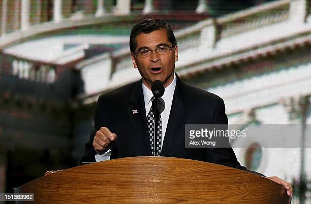 Democratic Caucus Vice Chair US Rep Xavier Becerra speaks on stage during the final day of the Democratic National Convention at Time Warner Cable...