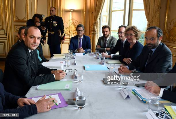 Democratic Confederation of Labour union's general secretary Laurent Berger meets with French Prime Minister Edouard Philippe and French Labour...