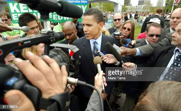 Democratic Convention Keynote speaker and Illinois Senate candidate Barack Obama talks to the media after speaking at the League of Conservation...