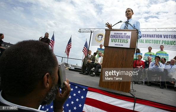 Democratic Convention Keynote speaker and Illinois Senate candidate Barack Obama speaks at the League of Conservation Voters Environmental Victory...