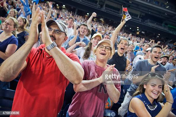 Democratic fans cheer during the 54th Congressional Baseball Game in Nationals Park June 11 2014 The Democrats prevailed over the Republicans 52