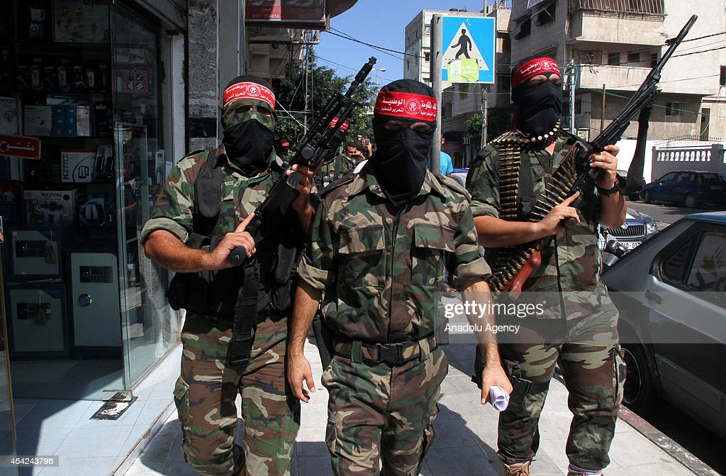 Democratic Front for the Liberation of Palestine hold a press meeting about the ceasefire between Palestinian resistance factions and Israel on August 27, 2014 in Gaza City, Gaza.