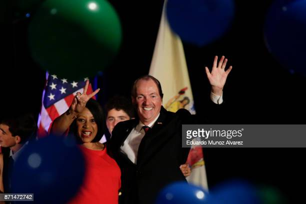 Democratic Govelect Phil Murphy celebrates during an election night rally for on November 7 2017 in Asbury Park New Jersey Murphy was projected an...