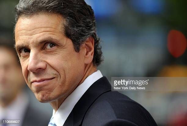 Democratic gubernatorial candidate Andrew Cuomo speaks on the steps of City Hall as he receives and endorsement from NARAL ProChoice New York