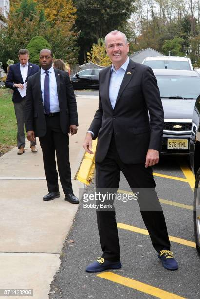 Democratic gubernatorial candidate Phil Murphy arrives to vote on election day November 7 2017 in Asbury Park New Jersey Murphy and Republican Lt Gov...