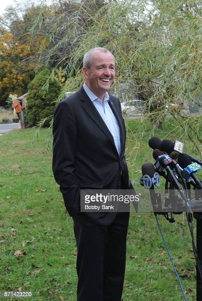 Democratic gubernatorial candidate Phil Murphy speaks at a news conference on election day November 7 2017 in Asbury Park New Jersey Murphy and...