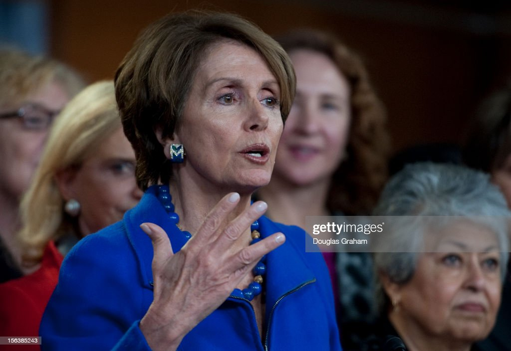 Democratic Leader Nancy Pelosi, D-CA., and House Democratic during a press conference to highlight the historic number of women elected as part of the House Democratic Caucus on November 14, 2012.