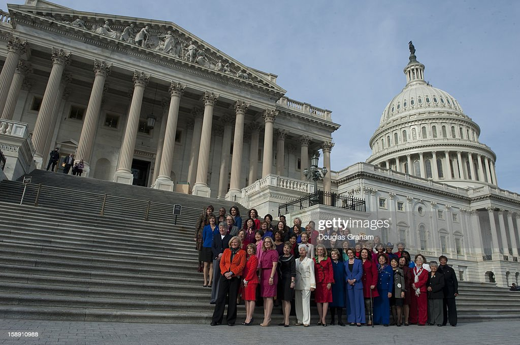 Democratic Leader Nancy Pelosi held a photo opportunity with the Democratic women of the House Steps to highlight the historic diversity of the House Democratic Caucus in the 113th Congress and celebrate the increased number of women joining the Democratic Caucus on January 3, 2013.