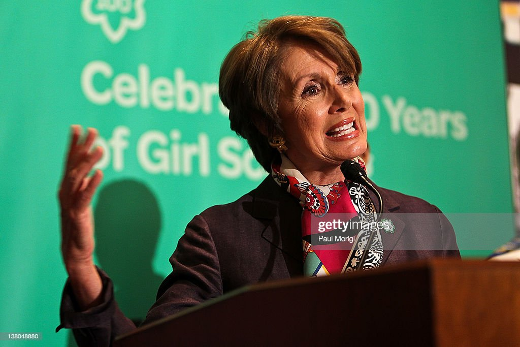 Democratic Leader <a gi-track='captionPersonalityLinkClicked' href=/galleries/search?phrase=Nancy+Pelosi&family=editorial&specificpeople=169883 ng-click='$event.stopPropagation()'>Nancy Pelosi</a> (D-CA) shares remarks at Girl Scouts At 100: The Launch of ToGetHerThere at Capitol Hill Cannon House Office Bldg, Caucus Room on February 1, 2012 in Washington, DC.