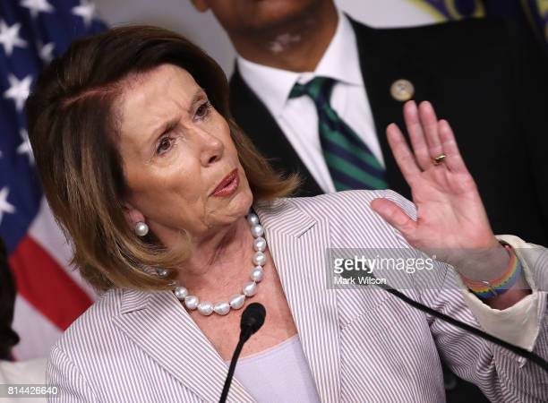 Democratic Leader Nancy Pelosi speaks during a news conference on Capitol Hill July 14 2017 in Washington DC Pelosi called for the revocation of...