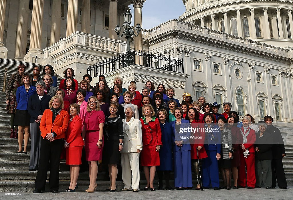 Democratic Leader Nancy Pelosi (D-CA) (C), stands with the Democratic women of the House to highlight the historic diversity of the House Democratic Caucus, on January 3, 2013 in Washington, DC. The new 113th Congress will be sworn in today.