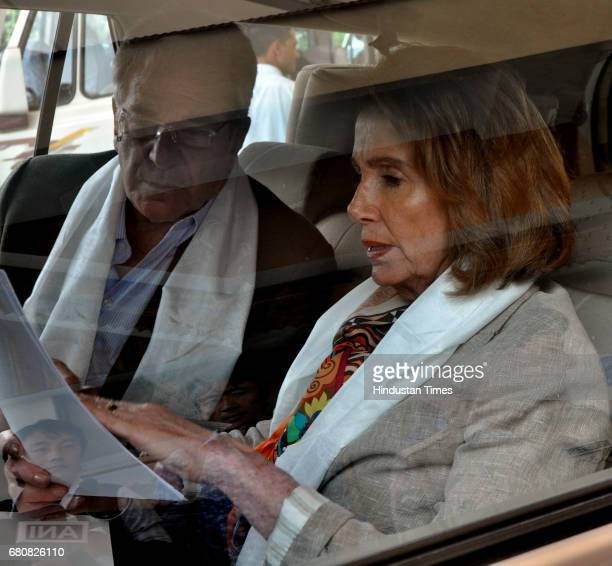 Democratic Leader Nancy Pelosi who is leading an eightmember US delegation arrives at Gaggal Airport on May 9 2017 in Dharamshala India They will...