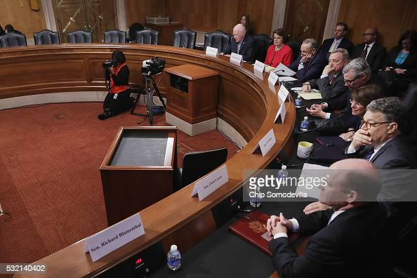 Democratic members of the Senate Judicary Committee convene a meeting to discuss what they see as Supreme Court nominee Merrick Garland's...
