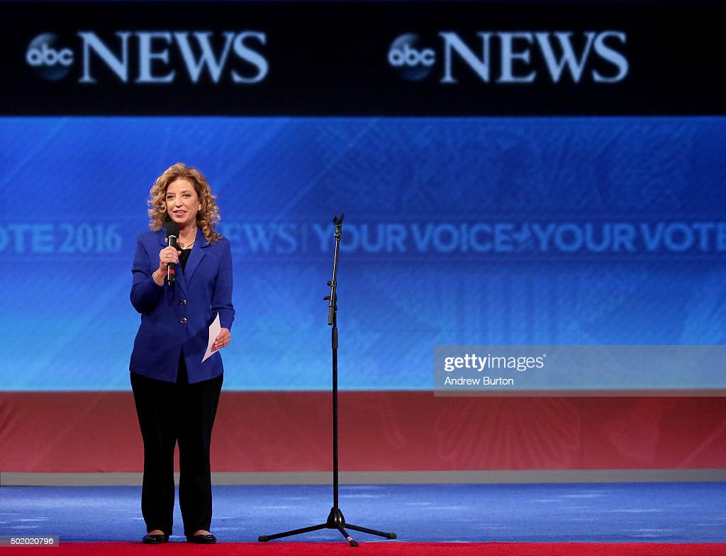Democratic National Committee Chair <a gi-track='captionPersonalityLinkClicked' href=/galleries/search?phrase=Debbie+Wasserman+Schultz&family=editorial&specificpeople=2528330 ng-click='$event.stopPropagation()'>Debbie Wasserman Schultz</a> speaks to the crowd prior to the Democratic debate at Saint Anselm College December 19, 2015 in Manchester, New Hampshire. This is the third Democratic debate featuring Democratic candidates Hillary Clinton, Bernie Sanders and Martin O'Malley.