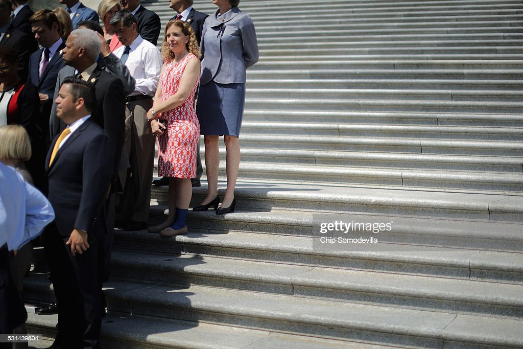 Democratic National Committee Chair Rep. Debbie Wasserman Shultz (D-FL) (2nd R) joins fellow congressional Democrats to call on Republicans to postpone the Memorial Day holiday recess on the steps of the House of Representatives at the U.S. Capitol May 26, 2016 in Washington, DC. Democratic presidential candidate Sen. Bernie Sanders' (D-VT) campaign manager said, 'I think someone else could play a more positive role' as chair of the DNC than Wasserman Schultz, sparking rumors of her being forced from the position.