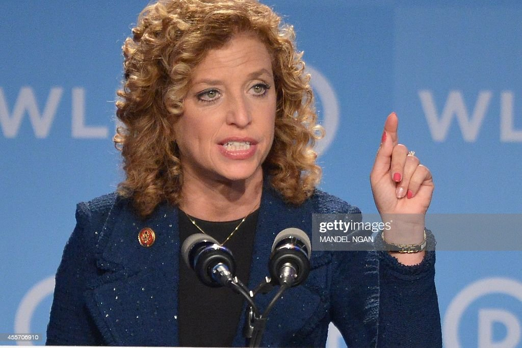 Democratic National Committee (DNC) Chair, Representative <a gi-track='captionPersonalityLinkClicked' href=/galleries/search?phrase=Debbie+Wasserman+Schultz&family=editorial&specificpeople=2528330 ng-click='$event.stopPropagation()'>Debbie Wasserman Schultz</a>, Democrat of Florida, speaks at the DNC's Leadership Forum Issues Conference in Washington, DC, on September 19, 2014. AFP PHOTO/Mandel NGAN