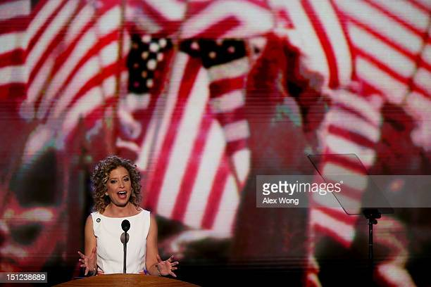 Democratic National Committee Chair US Rep Debbie Wasserman Schultz speaks on stage after calling the convention to order during day one of the...