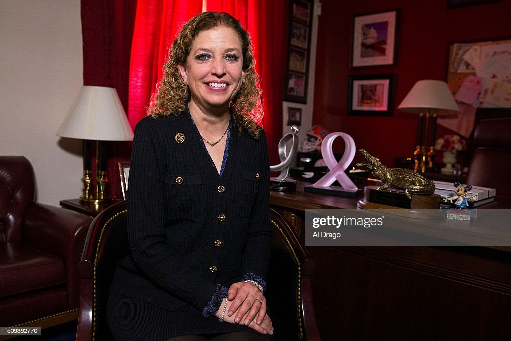 STATES - FEB. 10 - Democratic National Committee Chairman Debbie Wasserman Schultz, D-Fla., poses for a portrait in her office on Capitol Hill in Washington, on Wednesday, Feb. 10, 2016. Schultz is a Breast Cancer survivor since 2008.