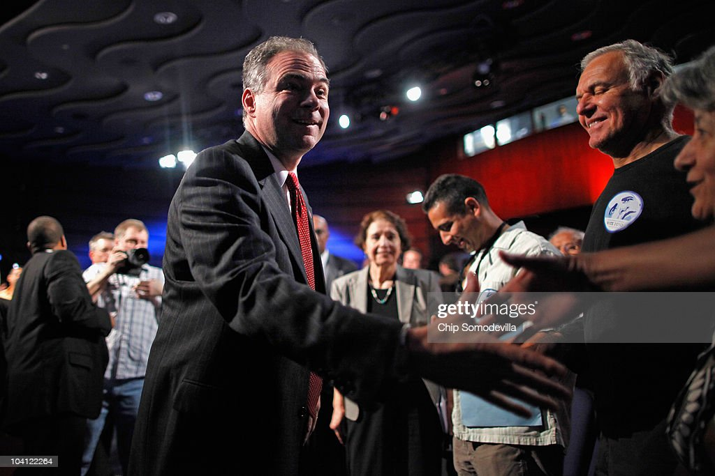 Democratic National Committee Chairman Tim Kaine greets supporters after revealing his party's new logo and Web site during an event in the Jack Morton Auditorium on the campus of George Washington University September 15, 2010 in Washington, DC. Kaine revealed the logo after an event to drum up excitement ahead of the November midterm elections.
