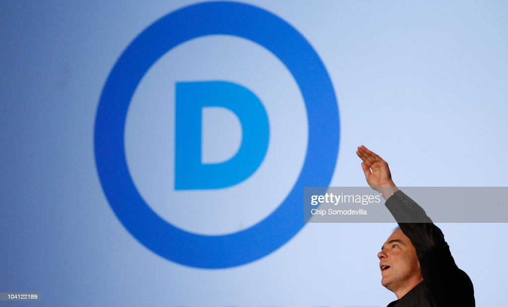 Democratic National Committee Chairman Tim Kaine reveals his party's new logo and Web site during an event in the Jack Morton Auditorium on the campus of George Washington University September 15, 2010 in Washington, DC. Kaine revealed the logo after an event to drum up excitement ahead of the November midterm elections.