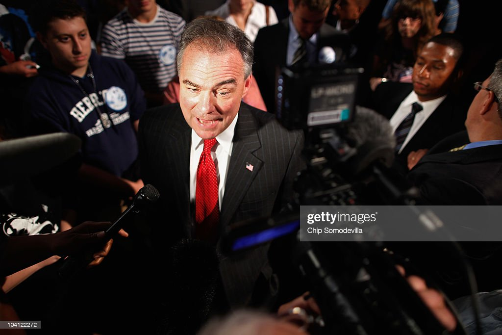 Democratic National Committee Chairman Tim Kaine talks to reporters after unveiling his party's new logo and Web site during an event in the Jack Morton Auditorium on the campus of George Washington University September 15, 2010 in Washington, DC. Kaine revealed the logo after an event to drum up excitement ahead of the November midterm elections.