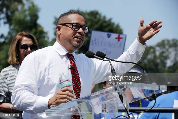 Democratic National Committee Deputy Chairman Rep Keith Ellison addresses a rally against Trump Administration education funding cuts outside the US...