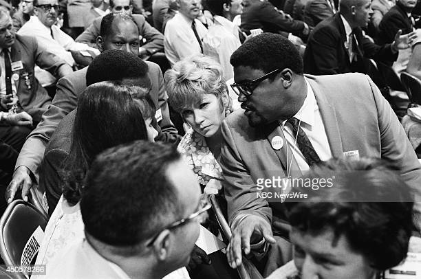 Democratic National Convention Pictured Actors Michele Lee Rafer Johnson Shirely MacLaine and Rosey Grier during the 1968 Democratic National...