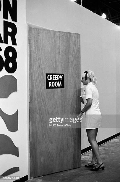 Democratic National Convention Pictured Attendee walks into the 'Creepy Room' during the 1968 Democratic National Convention held at the...