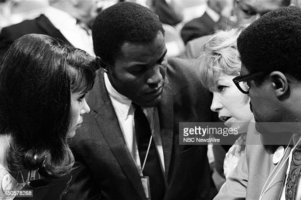 Democratic National Convention Pictured Michele Lee Rafer Johnson Shirley MacLaine and Rosey Grier during the 1968 Democratic National Convention...