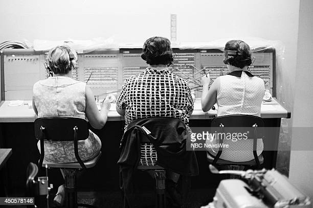 Democratic National Convention Pictured Switchboard operators during the 1968 Democratic National Convention held at the International Amphitheatre...