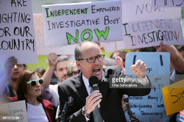 Democratic National Party Chirman Tom Perez speaks as people rally to protest against President Donald Trump's firing of Federal Bureau of...