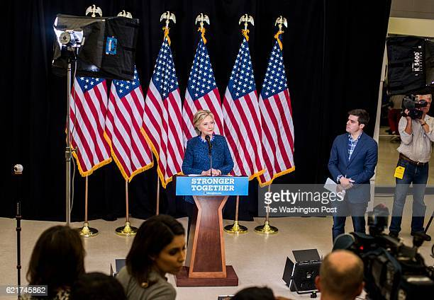 DES MOINES IA Democratic Nominee for President of the United States former Secretary of State Hillary Clinton speaks to journalists during a hastily...