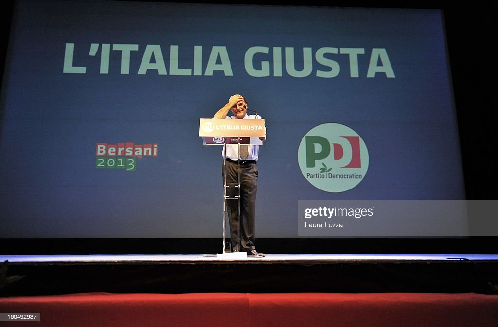 Democratic Party candidate for prime minister Pierluigi Bersani speaks at a political rally on February 1, 2013 in Florence, Italy. Recent opinion polls in Italy show former Prime Minister Silvio Berlusconi, a billionaire media magnate, surging to within 5 percentage points of Bersani ahead of the February 24-25 vote.