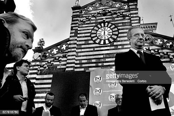 Democratic Party candidate Walter Veltroni attends a public meeting in Prato as part of his electoral campaign 'L'Italia Viva' Veltroni will tour 110...