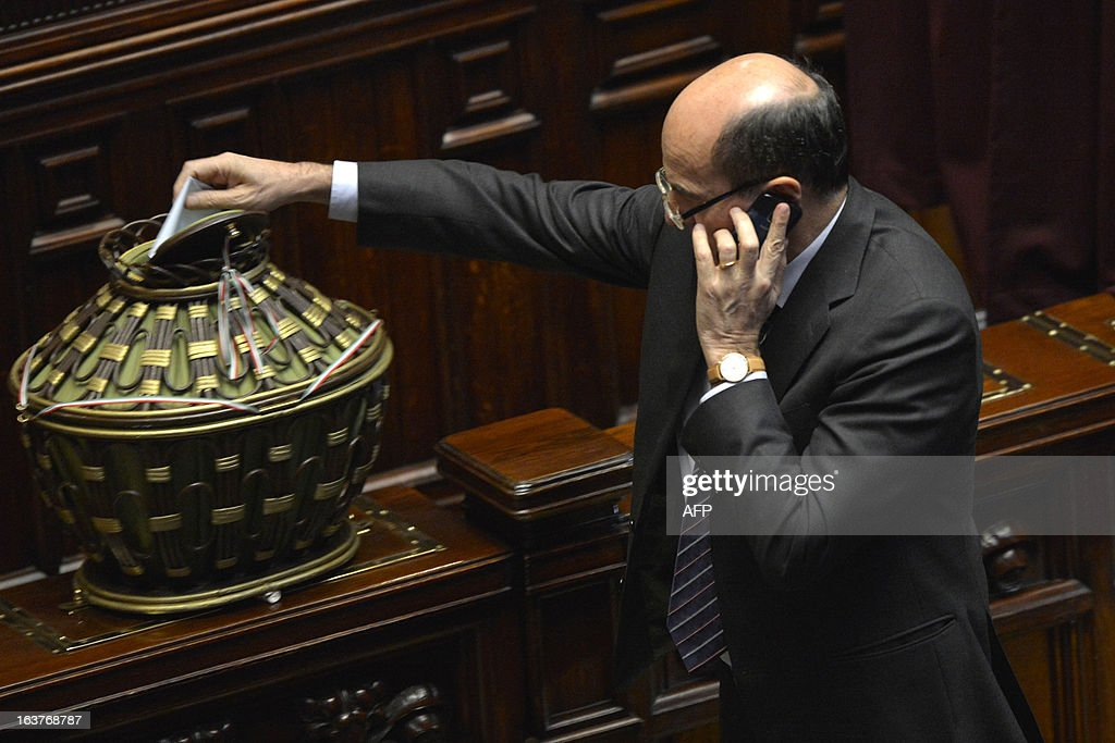 Democratic Party chief Pier Luigi Bersani casts his ballot during the first session of Italian lower-house on March 15, 2013 in Rome. General election in Italy took place on February 26 but as a majority in both chambers of parliament is required to form a government, Italy is left in a state of limbo with a hung parliament that is unprecedented in its post-war history.