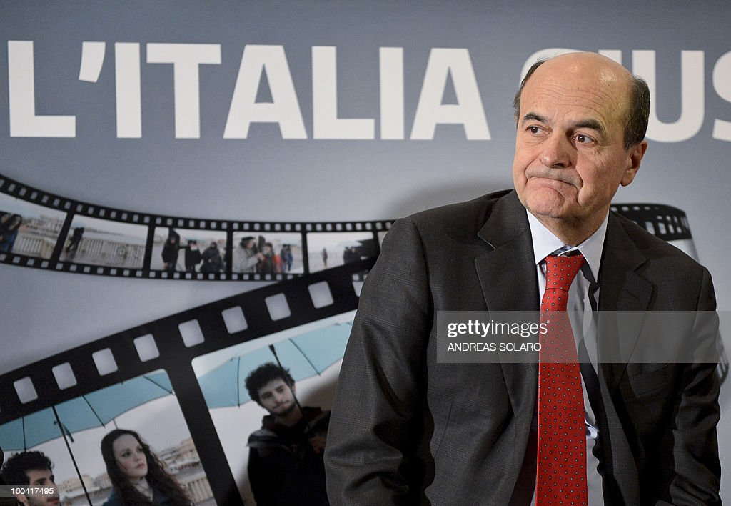 Democratic Party leader Pier Luigi Bersani answers journalists during a press conference to present the election campaign television spots on January 31, 2013 in Rome.