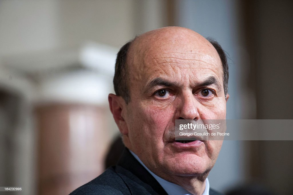 Democratic Party leader Pier Luigi Bersani attends a press statement after a meeting with Italian President Giorgio Napolitano at the Quirinale...