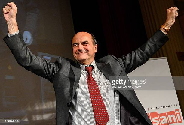 Democratic Party leader Pier Luigi Bersani celebrates on December 2 2012 during a press conference after winning a centerleft primary ahead of a...