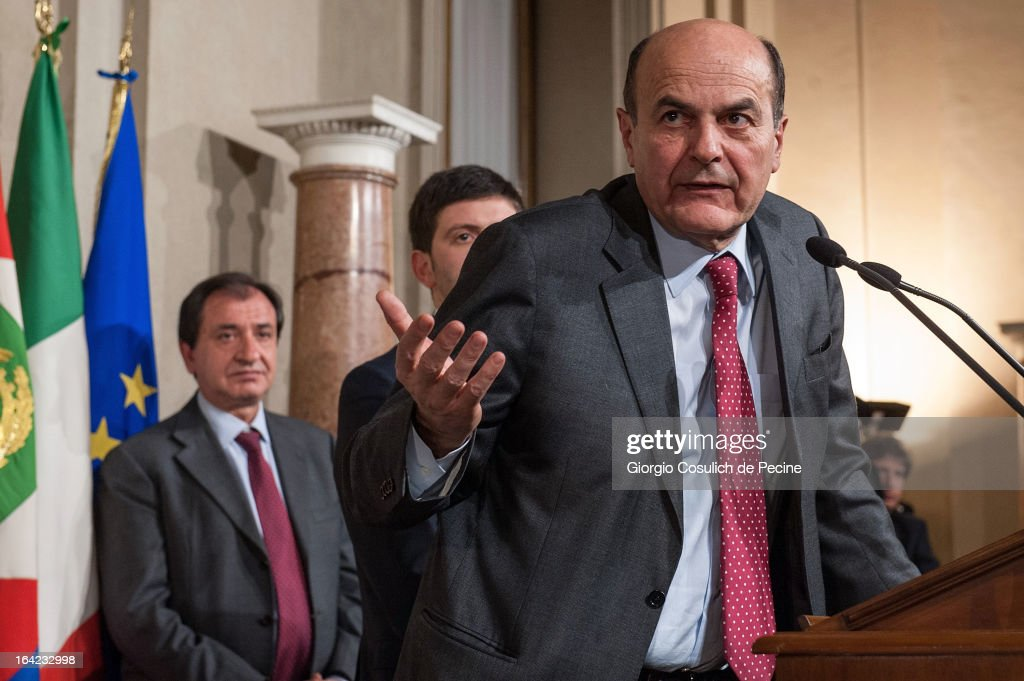 Democratic Party leader <a gi-track='captionPersonalityLinkClicked' href=/galleries/search?phrase=Pier+Luigi+Bersani&family=editorial&specificpeople=4182508 ng-click='$event.stopPropagation()'>Pier Luigi Bersani</a> gestures as he gives a press statement after a meeting with Italian President Giorgio Napolitano at the Quirinale Palace on March 21, 2013 in Rome, Italy. President Napolitano began two days of consultations with political parties to identify the potential prime minister able to form a new government that can win the confidence of the majority in the Parliament.