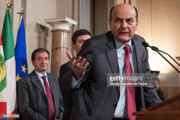 Democratic Party leader Pier Luigi Bersani gestures as he gives a press statement after a meeting with Italian President Giorgio Napolitano at the...
