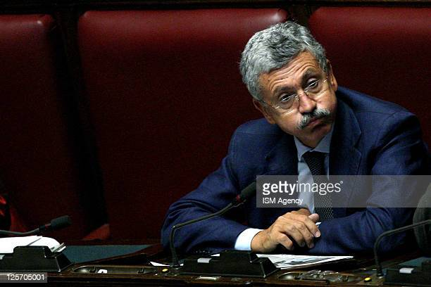 Democratic Party member Massimo D'Alema reacts during the vote at the Italian Chamber of Deputies on September 14 2011 in Rome Italy Silvio...