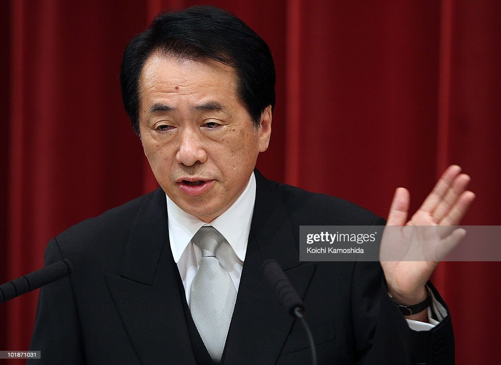 Democratic Party of Japan leader Naoto Kan, voted in as Japan's new prime minister, speaks during a press conference at his official residence on June 8, 2010 in Tokyo, Japan. Kan, elected by a general meeting of Democratic Party of Japan lawmakers, succeeds outgoing Yukio Hatoyama, who resigned less than nine months into the post.