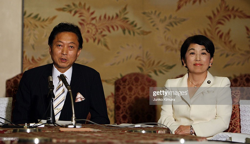 Democratic Party of Japan (DPJ) president and incoming Prime Minister Yukio Hatoyama (L), Social Democratic Party leader Mizuho Fukushima (R) speaks during a press conference at the Diet building on September 9, 2009 in Tokyo, Japan. DPJ secured 308 seats out of 480 in the lower house election but still need the coalition with these two parties to keep control in the upper house.