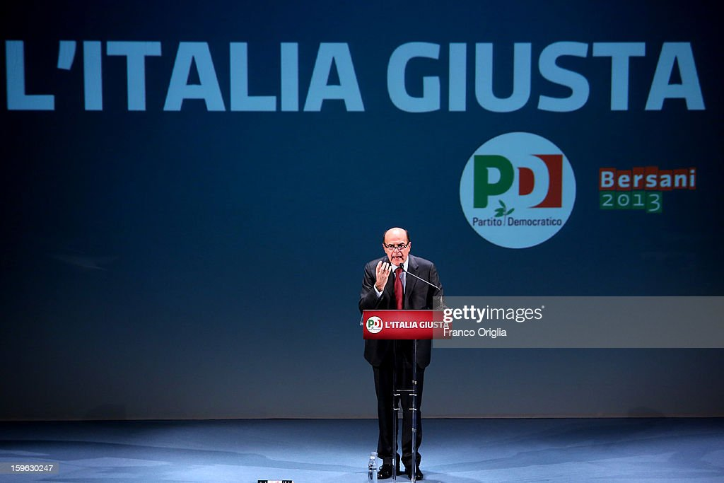 Democratic Party secretary and centreleft candidate for prime minister Pier Luigi Bersani speaks as he attends the opening of the PD Election...