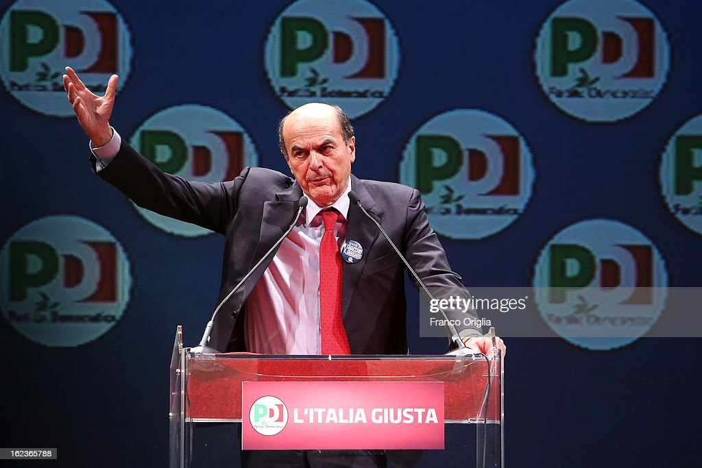 Democratic Party (PD) secretary and centre-left candidate for prime minister <a gi-track='captionPersonalityLinkClicked' href=/galleries/search?phrase=Pier+Luigi+Bersani&family=editorial&specificpeople=4182508 ng-click='$event.stopPropagation()'>Pier Luigi Bersani</a> holds a speech at the PD final campaign rally at the Ambra Jovinelli theatre on February 22, 2013 in Rome, Italy. Italy goes to the polls this weekend amid economic fears and social dissatisfaction.